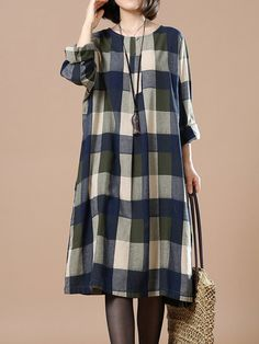 1f4aea68a9 Casual Plaid Knee-Length Plus Size Dress Fashion Dress