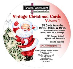 95 CHRISTMAS CARDS on CD includes inside art & by TwistedPapers, $9.95