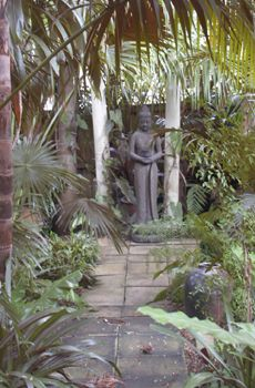 lush Balinese Garden, Garden Styles, Chinese Art, Lush, Buddha, Exotic, Gardens, Boho, Sweet