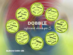 Hra DOBBLE - vybrané slová po S pre ľahké a nenásilné učenie vybraných slov hravou formou. Classroom, School, Class Room