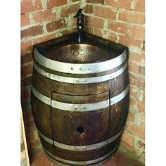 Whiskey Barrel Vanity with Hammered Copper Sink, Pop up Drain and Antique Waterfall Faucet