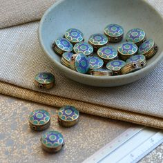 Tibetan Turquoise Inlay Reversible Brass Beads, Nepal Beads, Ethnic Beads, Tibetan Earrings, Lapis Lazuli, Coin Beads, Pairs, FOZ17-0210V by WanderlustWorldArts on Etsy