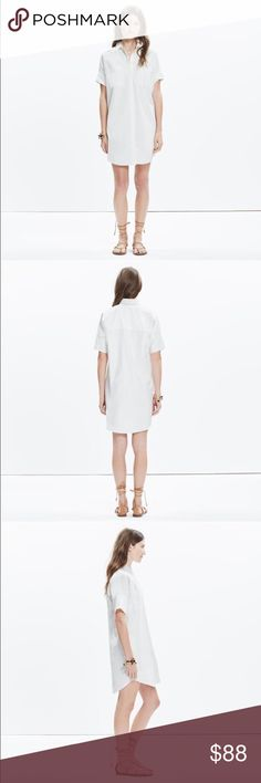 "NWT Madewell Courier Shirtdress Pure White Small S PRODUCT DETAILS  Our beloved boy-meets-girl shirt is reborn as the perfect white shirtdress. Cool and effortless, this might be the only thing to get us out of our jeans.    Shirtdress silhouette.  Falls 36 3/4"" from highest point of bodice.  Cotton/linen.  Machine wash.  Import. Madewell Dresses Mini"