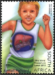 Stamp: Liver Transplant, Running (South Africa) (World Transplant Games) Mi:ZA 2223 Ronald Mcdonald, Running, Postage Stamps, World, Keep Running, Why I Run, Stamps, The World