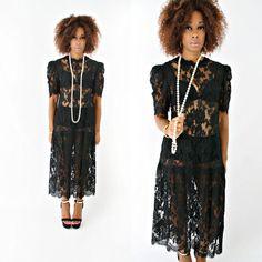 vintage 80s black SHEER lace FLAPPER drop waist MAXI dress by PasseNouveauVintage, $45.00