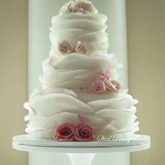 Ruffled Cake With Pink Roses