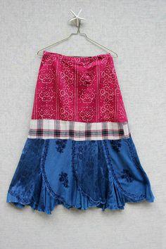REVIVAL Upcycled Boho Skirt, Junk Gypsy Style, Farm Girl, Country Girl, Maxi Length