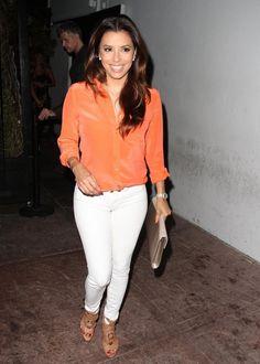 Eva Longoria - orange shirt, white pants and nude sandals