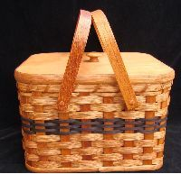 Amish Handmade ~ Square Double Pie Carrier Basket with wood tray and lid two wooden handles
