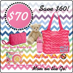 Thirty-One Gifts - Mom on the Go Bundle #ThirtyOneGifts #ThirtyOne #Personalization #ProTote #DiaperBag