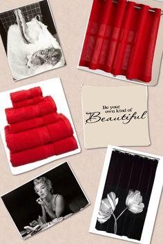 Put this together myself. Marilyn Monroe red and black bathroom! Pictures and shower curtain from Amazon.com Towels and curtain from Target.