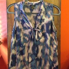 Ann Taylor Watercolor Top The fabric really is that beautiful! I don't use any filters, only sunlight. Small but fits like a Medium. Ann Taylor Tops Tank Tops