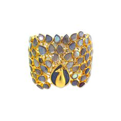 Pippa Small 22K Gold and Labradorite Peacock Bracelet - We're Obsessed... ❤ liked on Polyvore