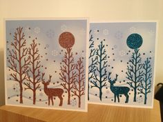 Some of this year's Christmas cards, using sparkle medium and Imagination Crafts stencil.
