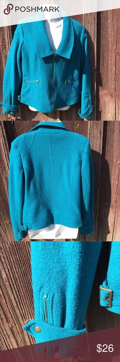SOLO Moda jacket! Beautiful! SOLO Moda jacket! Beautiful! Size 8 Beautiful blue color ! Has zipper pockets zips up front, zipper on each sleeve and buckle on each side !  This jacket is in excellent condition. Measures bust 20 in length 23 in sleeve 25 in solo moda Jackets & Coats