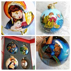Vintage Hand Painted Nativity Ne Qwa Ornaments Set of 3, Three Kings, Mother Mary Baby Jesus Ornament, Joseph Mary Jesus Christmas Ornament by HuldasTreasures on Etsy