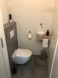 Space Saving Toilet Design for Small Bathroom - Home to Z Space Saving Toilet, Small Toilet Room, Guest Toilet, Downstairs Toilet, Small Toilet Design, Cloakroom Toilet Small, Ikea Toilet, Cloakroom Sink, Downstairs Cloakroom