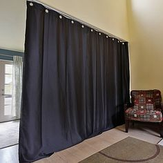 Roomdividersnow Medium Ceiling Track Room Divider Kit B With.- Roomdividersnow Medium Ceiling Track Room Divider Kit B With Curtain Panel In Black Midnight Black View a larger version of this product image - Temporary Room Dividers, Decorative Room Dividers, Fabric Room Dividers, Wooden Room Dividers, Bamboo Room Divider, Hanging Room Dividers, Folding Room Dividers, Room Divider Bookcase, Living Room Divider