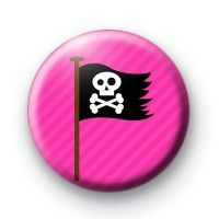 Pink and Black Pirate Flag Badge » Kool Badges Dot Com » The home of custom designed 25mm Button Badges & 1 Inch Pins