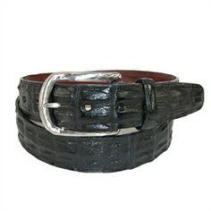 Torino Leather 1 3/8 in. Feather Edge Hornback Crocodile Belt. Nickle buckle