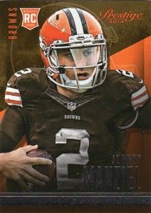 A yearly favorite for budget and set collectors, the flagship football product from Topps offers a simple Johnny Manziel rookie card.