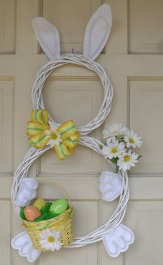 Corona decoración puerta conejito de Pascua - Easter Bunny Holiday Door Wreath Decoration