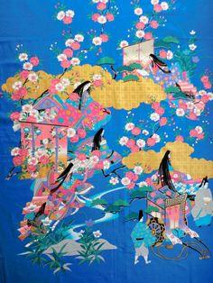 Japanese fabric, cotton fabric Heian Era kimono, Japanese kimono fabric, wall decoration, quilt fabric, japanese fabric, yukata fabric