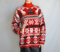 Vintage Tacky Ugly Christmas Sweater With Reindeer  / Ski Sweater / Medium / Sweater Party by YellowWoodVintage on Etsy