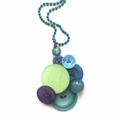 Cool Colors Vintage Button Jewelry Pendant Necklace by buttonsoupjewelry on Etsy