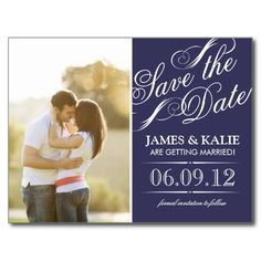 Navy Blue Vintage Script Photo Save the Date Post Cards