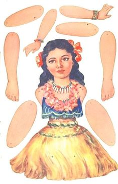 Articulated Hula paper doll