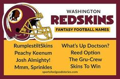 With Case Keenum taking over control of the Redskins offense, they'll be plenty of fantasy football names to choose from. We've got a bunch! Nfc East Teams, 32 Nfl Teams, Football Team Names, Football Helmets, Cool Fantasy Football Names, Colts Super Bowl, Falcons Game, Remember The Titans, Feel Good Stories
