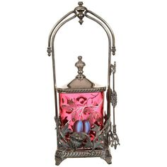 """12"""" Pickle Castor - Deep Cranberry Coinspot Rectangular Art Glass Insert with Enamel Plum & Pear Decor - Set in Ornate Wilcox #4648 Silverplate Frame with Thistle Design."""