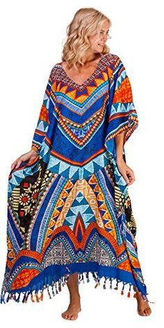 a24d1f54d1 Fringed Caftans - V-neck Rayon One Size Sante Kaftan - Country Song at  Amazon Women's Clothing store: