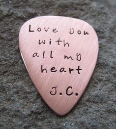 Copper Hand Stamped Guitar Pick - 7th Wedding Anniversary idea