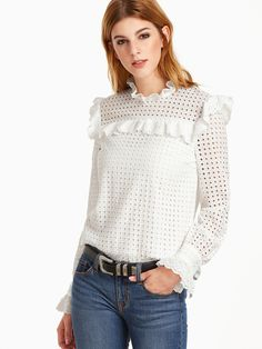 Shop White Eyelet Embroidered Keyhole Back Ruffle Trim Top online. SheIn offers White Eyelet Embroidered Keyhole Back Ruffle Trim Top & more to fit your fashionable needs. White Fashion, European Fashion, Casual Outfits, Fashion Outfits, Womens Fashion, All White Outfit, Cotton Lace, Lace Tops, Ruffle Trim