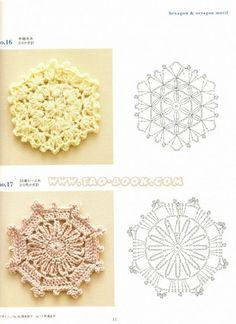 Solo esquemas y diseños de crochet: motivos cuadrados