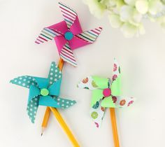 Pretty Packages Cricut Image Set -- Pinwheel pencil toppers by Damask Love. Make It Now in Cricut Design Space