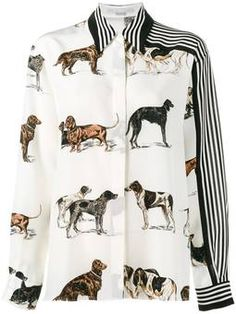 Shop Stella McCartney dog and stripe print shirt from our Shirts collection. Stella Mccartney, White Silk Blouse, Silk Top, Silk Crepe, Mellow Yellow, Stripe Print, Stripe Top, Mode Style, Printed Shirts
