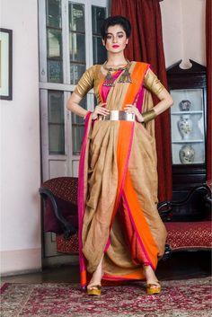 Beige Organic Linen Saree With Pink & Orange Border