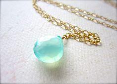 sayuri petite necklace - aqua gemstone necklace, gold, blue chalcedony solitaire, everyday, something blue, handmade jewelry. $38.00, via Etsy.