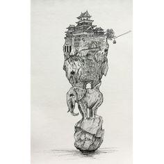 #elephant #drawing #pen #black #& #white #fantasy #imaginative #original #rock #sea #city #fortress #pagoda #culture #japan #lineart #lines #blackwork #on #top #statue #architecture #surreal #salajova #art #tattoo #inspiration