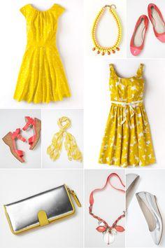 Sommeroutfit für die Hochzeit gelb coralle