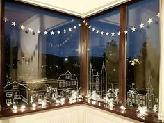 Chalk pen on window for nice winter or holliday decoration.