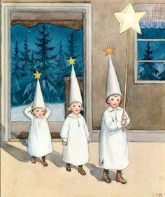 Elsa Beskow – Swedish) Christmas I love her books. Swedish Christmas, Scandinavian Christmas, Christmas Love, Christmas Images, Xmas, Christmas Night, Elsa Beskow, Sankta Lucia, Santa Lucia Day