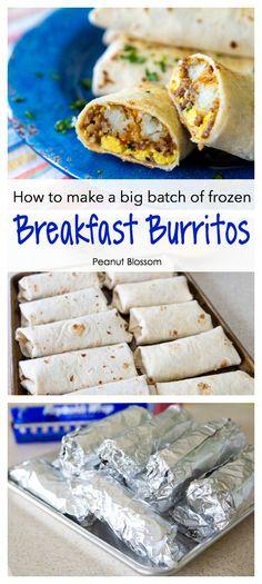 Make Ahead Breakfast Burritos, Breakfast For A Crowd, Make Ahead Meals, Sausage Breakfast, Perfect Breakfast, Easy Meals, School Breakfast, Camping Food Make Ahead, Best Breakfast Foods