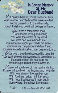 in loving memory of my husband poems | Home, Furniture & DIY > Celebrations & Occasions > Cards & Stationery