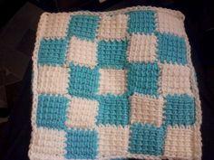 Entrelac Tunisian Crochet Square 1 Front