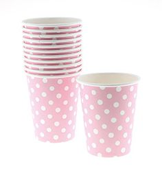 Polka Dot Paper Cups - Light Pink for $7.99 from The TomKat Studio Party Shop