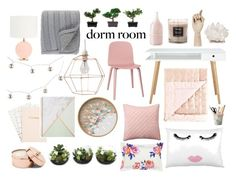 """""""marble dorm room"""" by lightbulbslightupmyworld ❤ liked on Polyvore featuring interior, interiors, interior design, home, home decor, interior decorating, Surya, Pottery Barn, Joules and Kate Spade"""